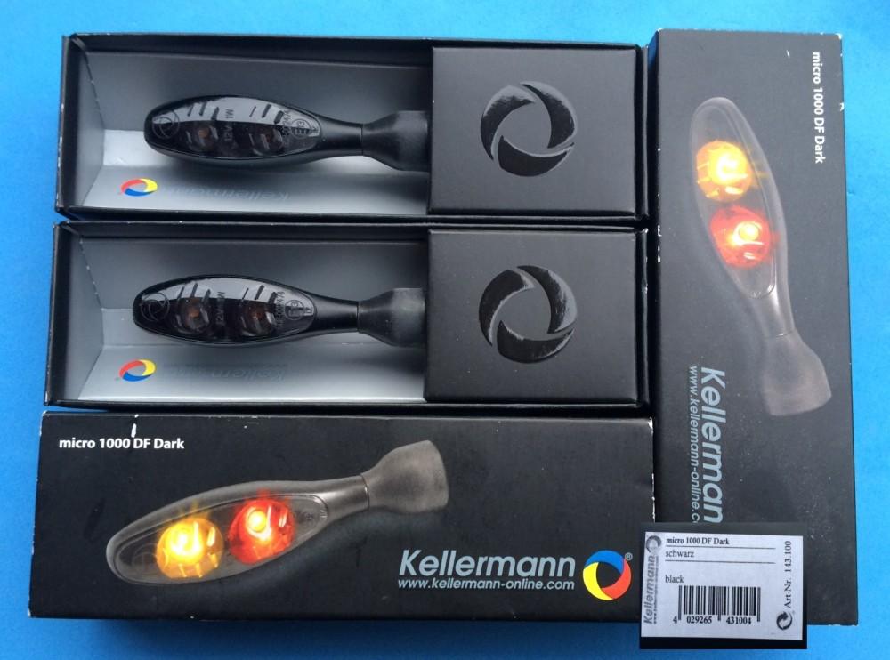 4 Kellermann Micro 1000 Dark Indicator Black Led Tinted Pair